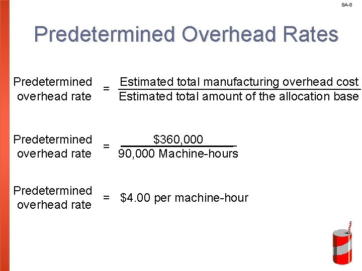 8 A-8 Predetermined Overhead Rates Predetermined Estimated total manufacturing overhead cost = overhead rate