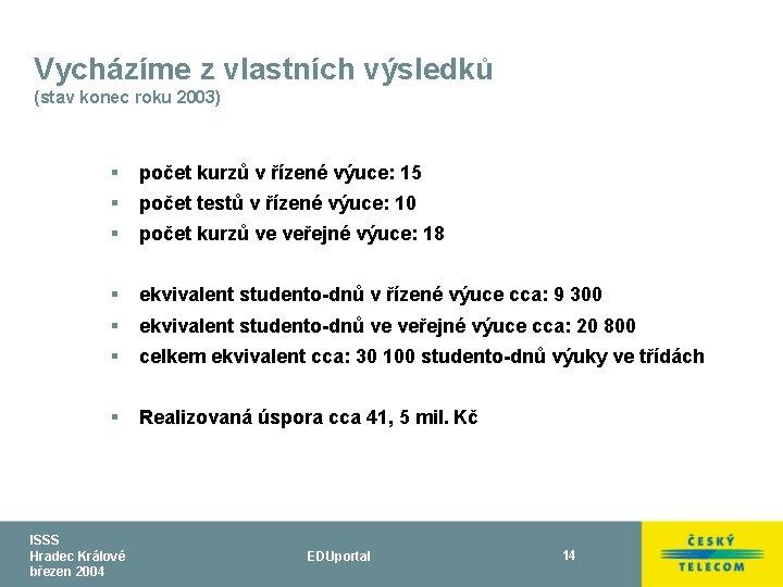 Vycházíme z vlastních výsledků (stav konec roku 2003) § počet kurzů v řízené výuce: