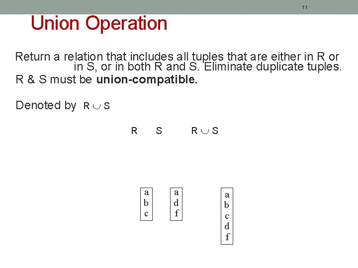 11 Union Operation Return a relation that includes all tuples that are either in