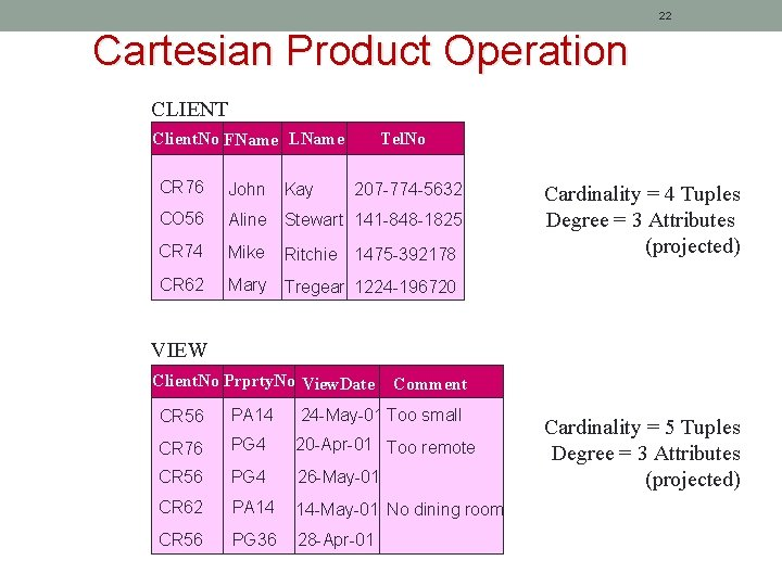 22 Cartesian Product Operation CLIENT Client. No FName LName Tel. No CR 76 John