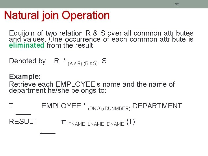 32 Natural join Operation Equijoin of two relation R & S over all common
