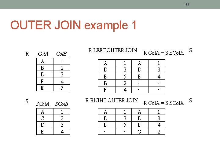 43 OUTER JOIN example 1