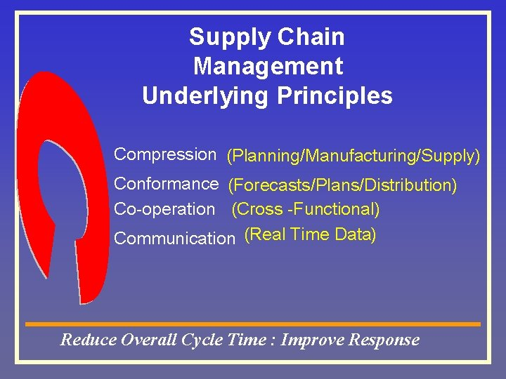 Supply Chain Management Underlying Principles Compression (Planning/Manufacturing/Supply) Conformance (Forecasts/Plans/Distribution) Co-operation (Cross -Functional) Communication (Real