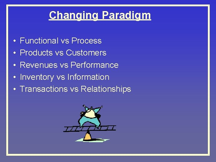 Changing Paradigm • • • Functional vs Process Products vs Customers Revenues vs Performance