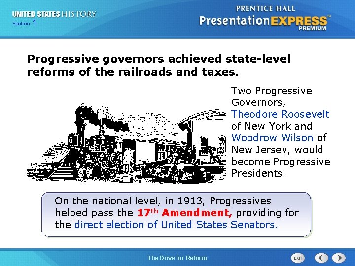 125 Section Chapter Section 1 Progressive governors achieved state-level reforms of the railroads and