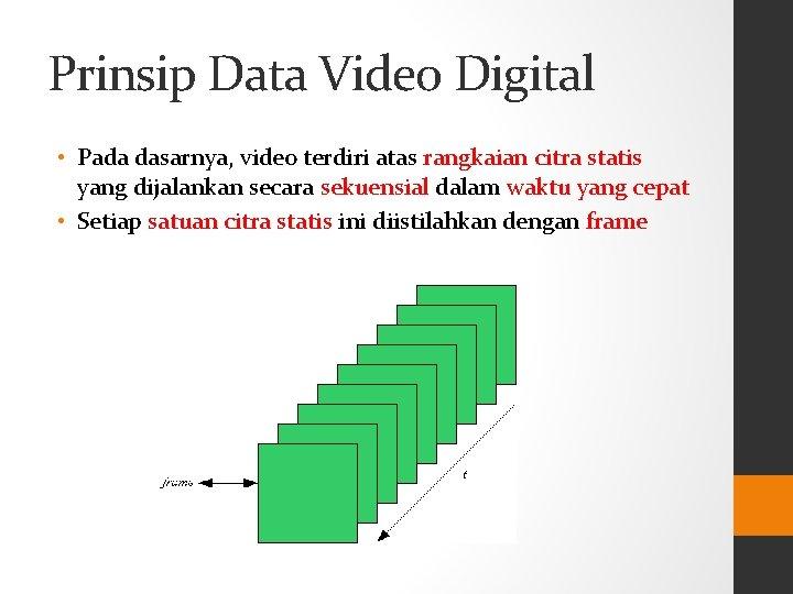 Prinsip Data Video Digital • Pada dasarnya, video terdiri atas rangkaian citra statis yang