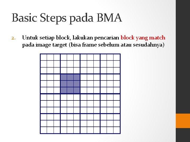 Basic Steps pada BMA 2. Untuk setiap block, lakukan pencarian block yang match pada