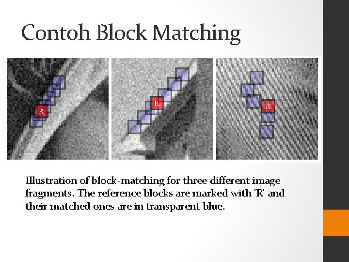 Contoh Block Matching Illustration of block-matching for three different image fragments. The reference blocks