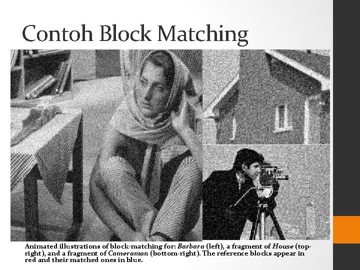 Contoh Block Matching Animated illustrations of block-matching for: Barbara (left), a fragment of House