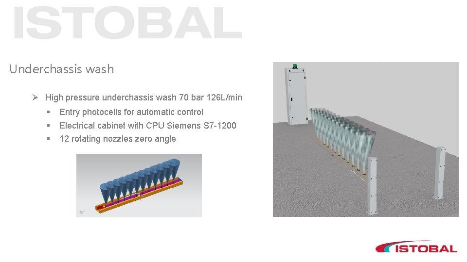 Underchassis wash Ø High pressure underchassis wash 70 bar 126 L/min § § §