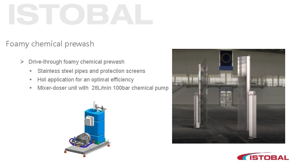 Foamy chemical prewash Ø Drive-through foamy chemical prewash § § § Stainless steel pipes
