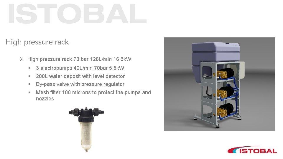High pressure rack Ø High pressure rack 70 bar 126 L/min 16, 5 k.