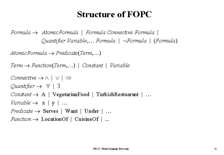 Structure of FOPC Formula Atomic. Formula | Formula Connective Formula | Quantifier Variable, …