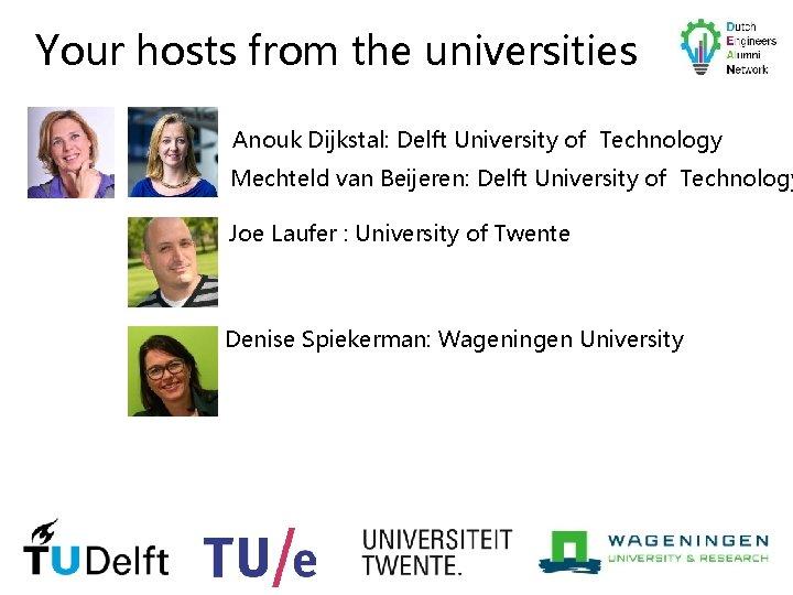 Your hosts from the universities Anouk Dijkstal: Delft University of Technology Mechteld van Beijeren: