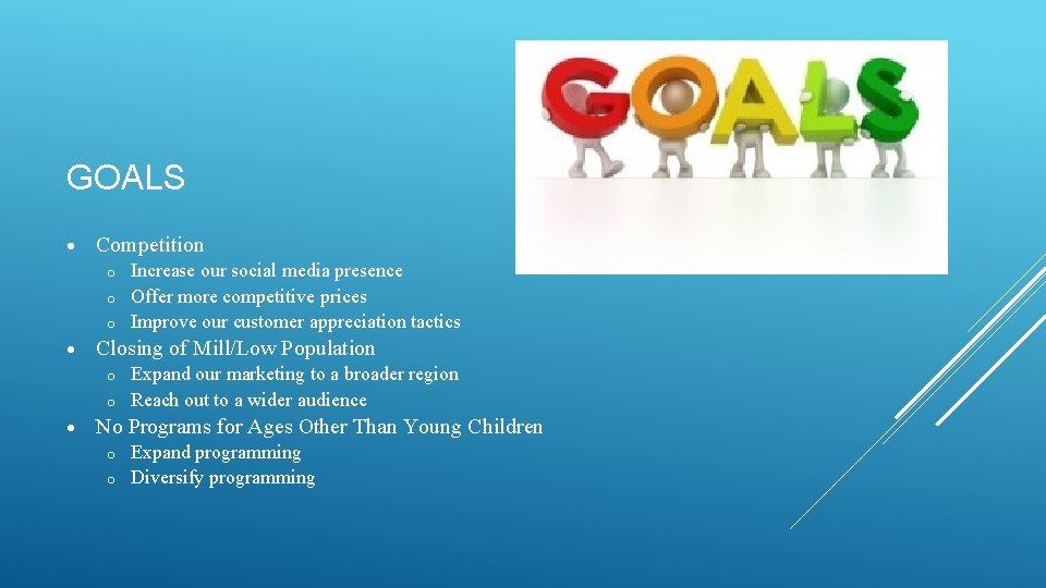 GOALS Competition Increase our social media presence o Offer more competitive prices o Improve
