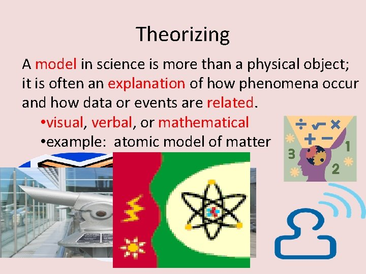 Theorizing A model in science is more than a physical object; it is often