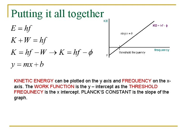 Putting it all together KINETIC ENERGY can be plotted on the y axis and