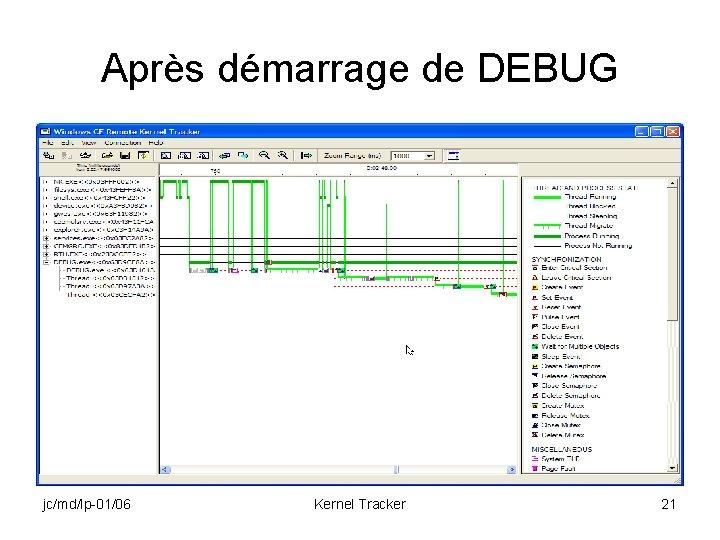 Après démarrage de DEBUG jc/md/lp-01/06 Kernel Tracker 21