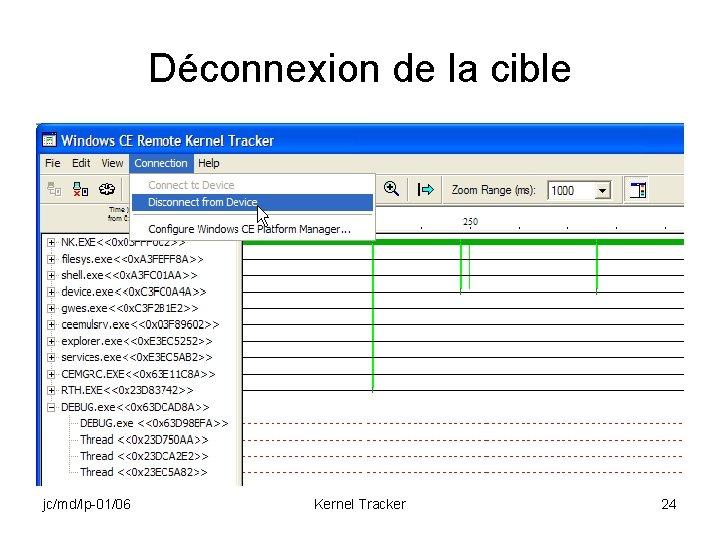 Déconnexion de la cible jc/md/lp-01/06 Kernel Tracker 24