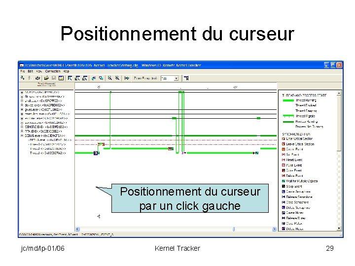 Positionnement du curseur par un click gauche jc/md/lp-01/06 Kernel Tracker 29