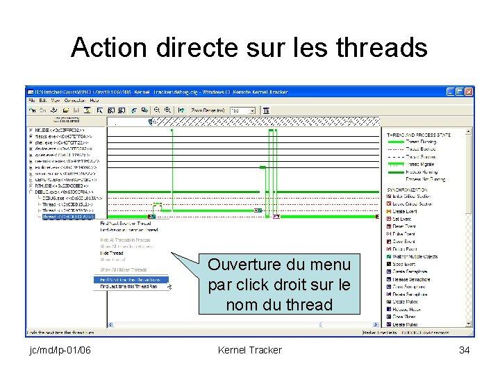 Action directe sur les threads Ouverture du menu par click droit sur le nom