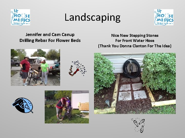 Landscaping Jennifer and Cam Canup Drilling Rebar For Flower Beds Nice New Stepping Stones