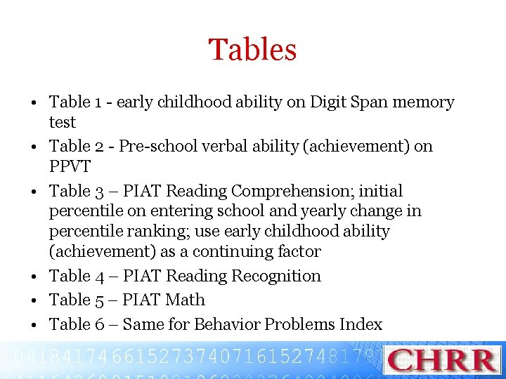 Tables • Table 1 - early childhood ability on Digit Span memory test •