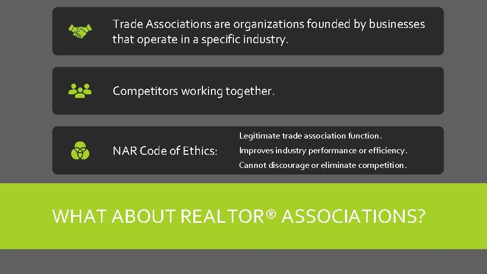 Trade Associations are organizations founded by businesses that operate in a specific industry. Competitors