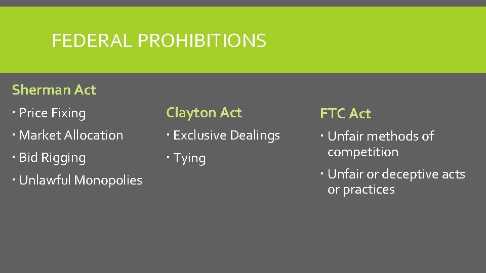 FEDERAL PROHIBITIONS Sherman Act Price Fixing Clayton Act FTC Act Market Allocation Exclusive Dealings
