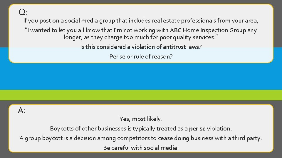 Q: If you post on a social media group that includes real estate professionals