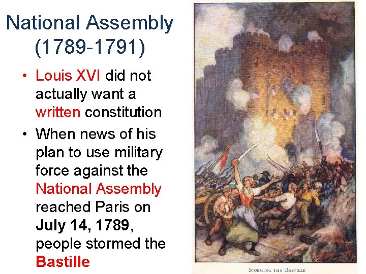 National Assembly (1789 -1791) • Louis XVI did not actually want a written constitution