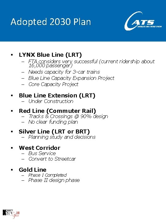 Adopted 2030 Plan § LYNX Blue Line (LRT) – FTA considers very successful (current