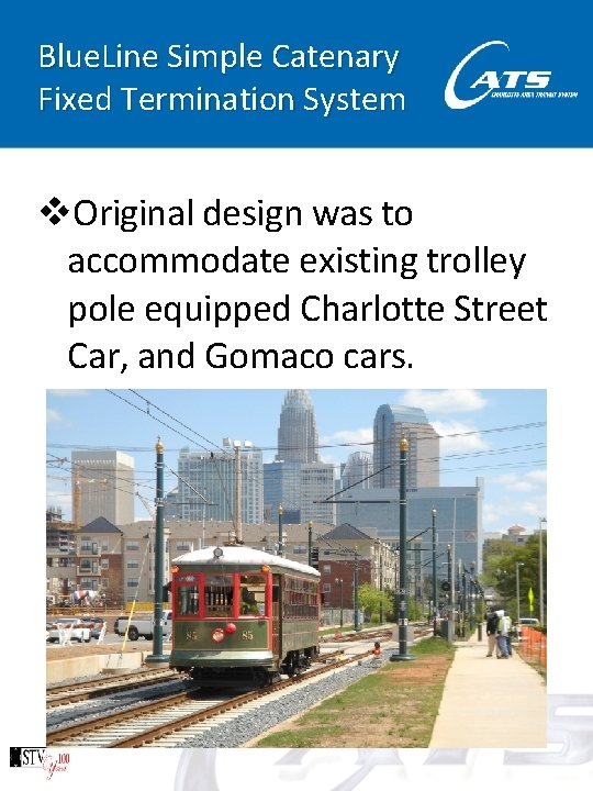 Blue. Line Simple Catenary Fixed Termination System v. Original design was to accommodate existing
