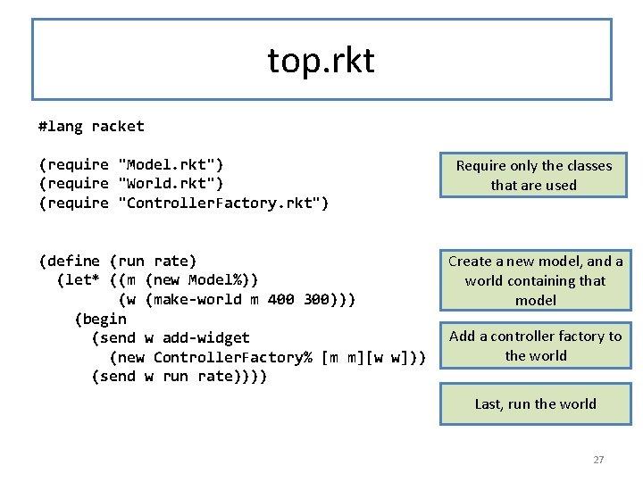 """top. rkt #lang racket (require """"Model. rkt"""") (require """"World. rkt"""") (require """"Controller. Factory. rkt"""")"""