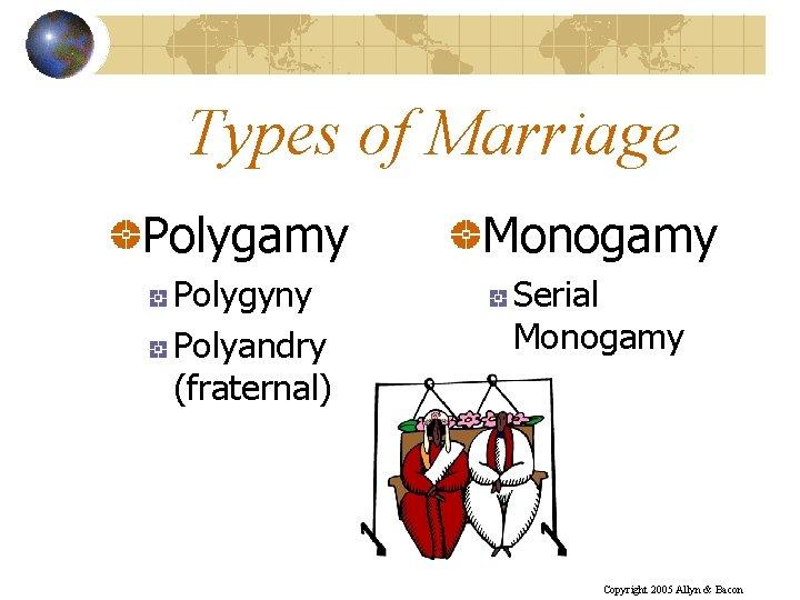 Types of Marriage Polygamy Monogamy Polygyny Polyandry (fraternal) Serial Monogamy Copyright 2005 Allyn &
