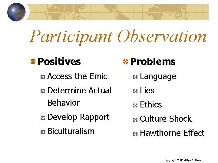 Participant Observation Positives Problems Access the Emic Language Determine Actual Behavior Lies Develop Rapport