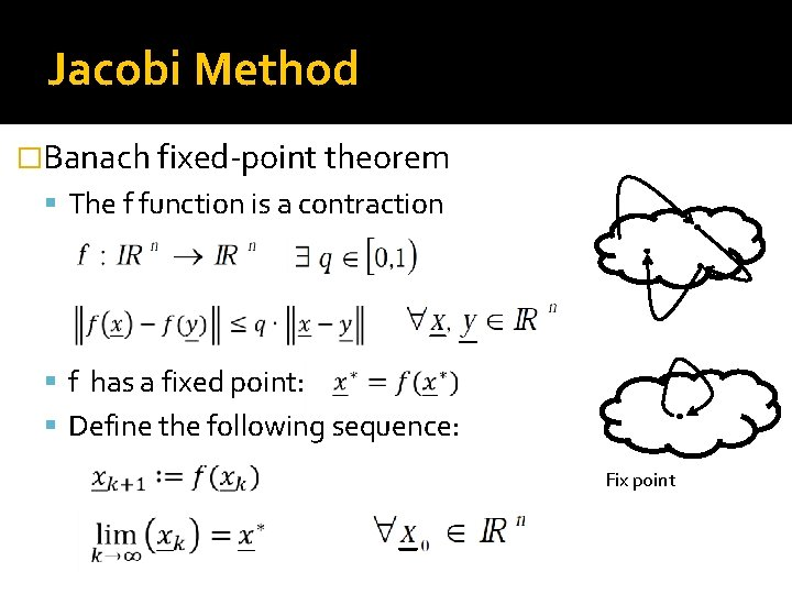 Jacobi Method �Banach fixed-point theorem The f function is a contraction f has a