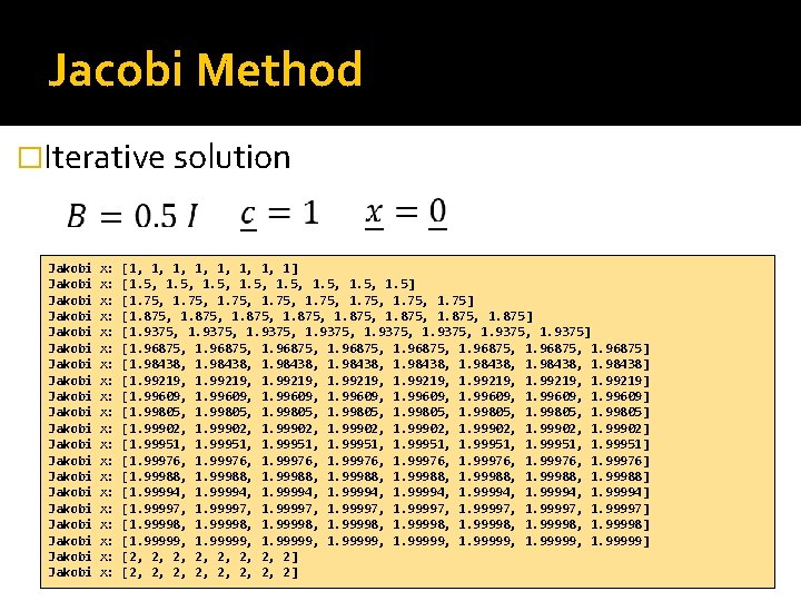Jacobi Method �Iterative solution Jakobi Jakobi Jakobi Jakobi Jakobi x: x: x: x: x: