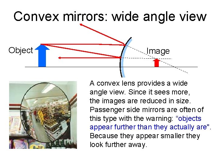 Convex mirrors: wide angle view Object Image A convex lens provides a wide angle