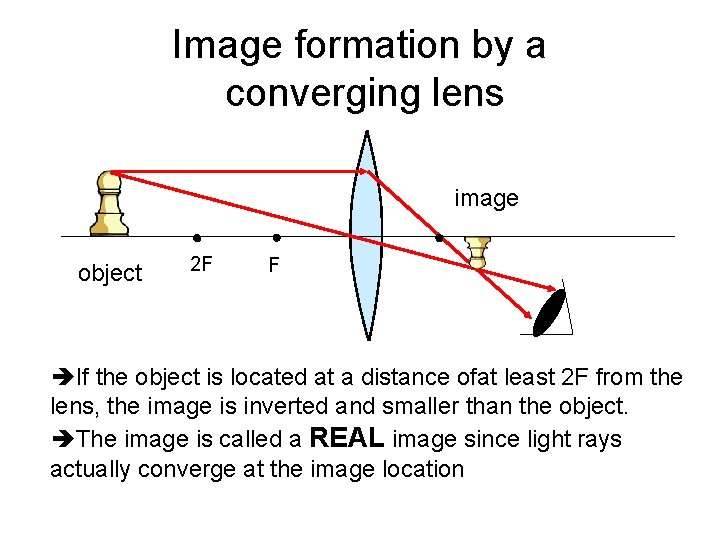 Image formation by a converging lens image object 2 F F If the object
