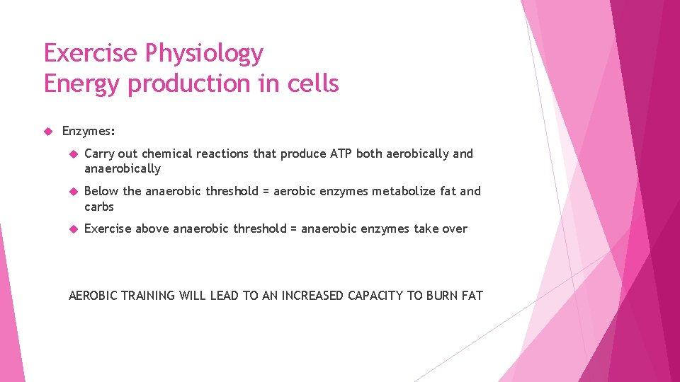 Exercise Physiology Energy production in cells Enzymes: Carry out chemical reactions that produce ATP