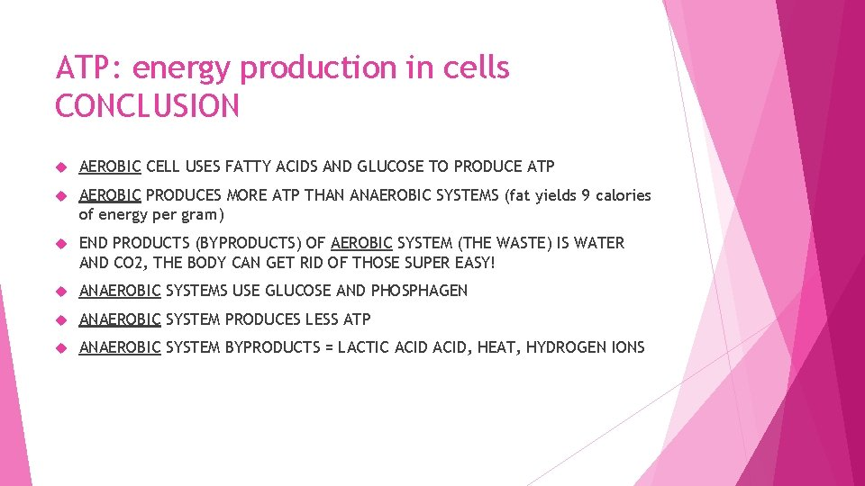 ATP: energy production in cells CONCLUSION AEROBIC CELL USES FATTY ACIDS AND GLUCOSE TO
