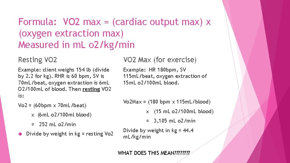 Formula: VO 2 max = (cardiac output max) x (oxygen extraction max) Measured in