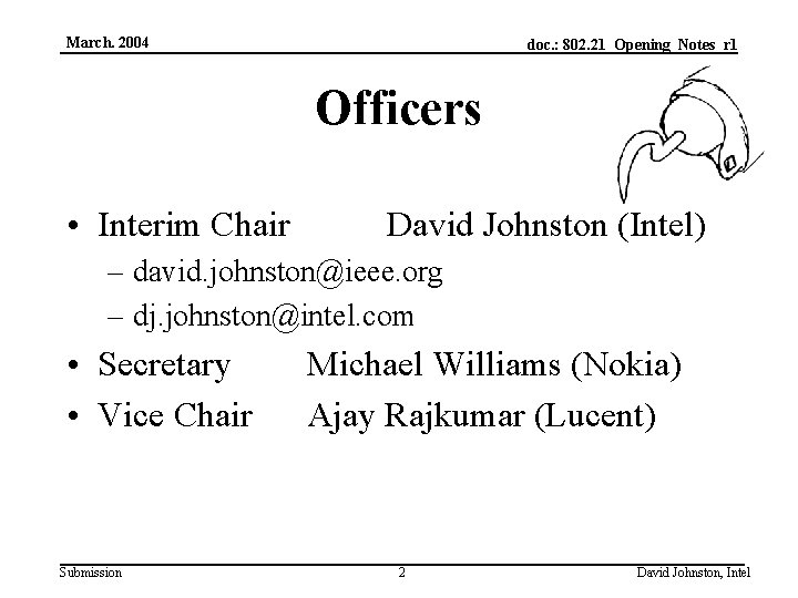 March. 2004 doc. : 802. 21_Opening_Notes_r 1 Officers • Interim Chair David Johnston (Intel)