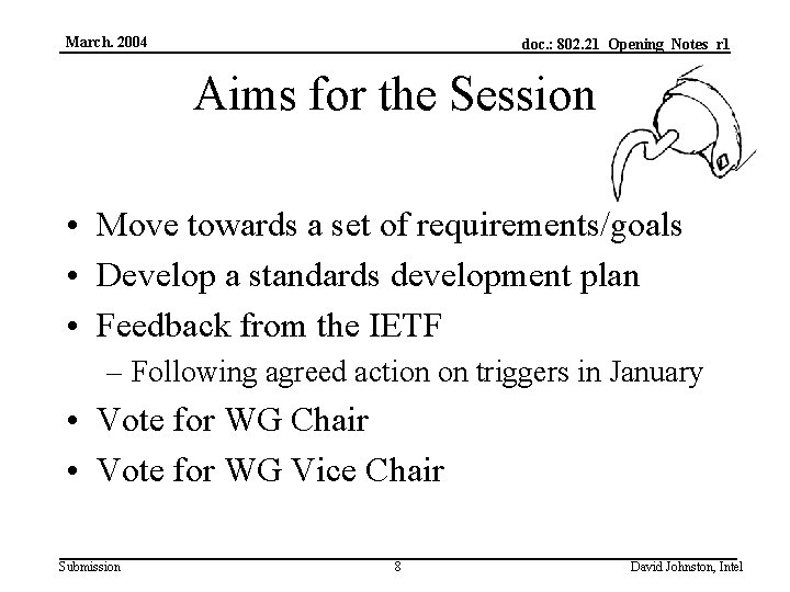 March. 2004 doc. : 802. 21_Opening_Notes_r 1 Aims for the Session • Move towards