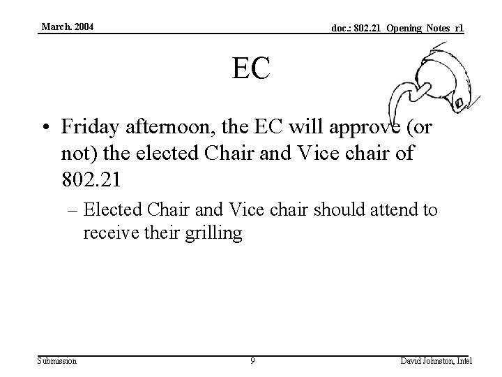 March. 2004 doc. : 802. 21_Opening_Notes_r 1 EC • Friday afternoon, the EC will
