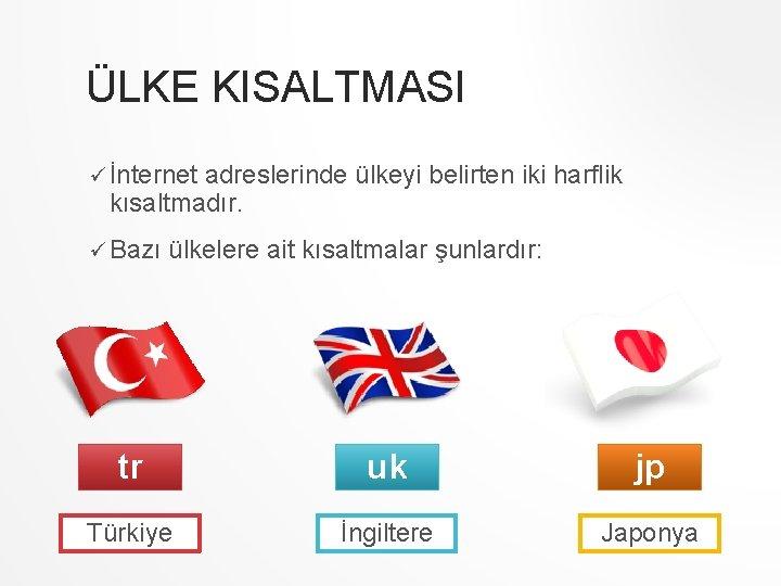 ÜLKE KISALTMASI ü İnternet adreslerinde ülkeyi belirten iki harflik kısaltmadır. ü Bazı ülkelere ait