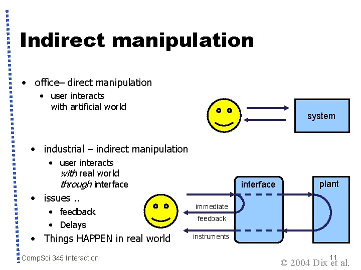Indirect manipulation • office– direct manipulation • user interacts with artificial world system •