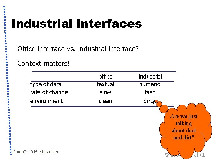 Industrial interfaces Office interface vs. industrial interface? Context matters! type of data rate of