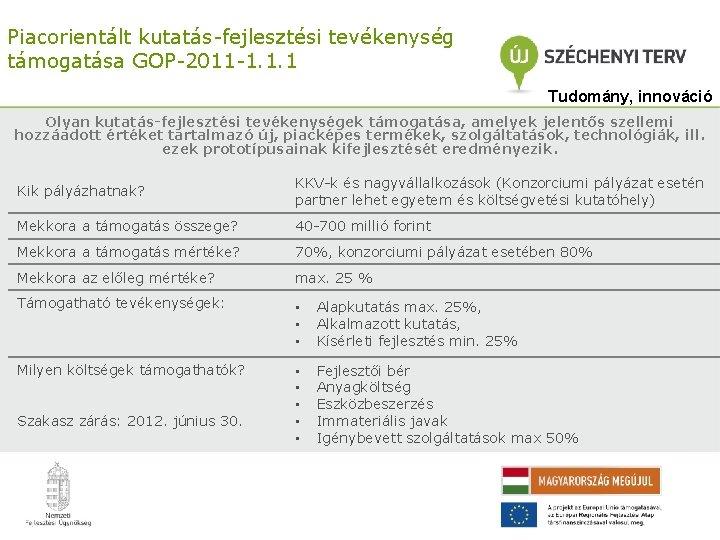 Piacorientált kutatás-fejlesztési tevékenység támogatása GOP-2011 -1. 1. 1 Tudomány, innováció Olyan kutatás-fejlesztési tevékenységek támogatása,